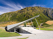 View of the Peregrine Winery, in the Gibbston Valley, near Queenstown, Otago, New Zealand.  The Peregrine Awning has won numerous architectural design awards.