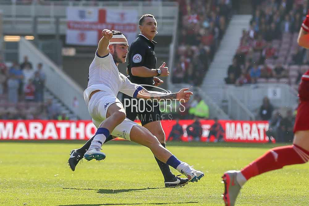 Leeds United midfielder Alex Mowatt  with a shot during the Sky Bet Championship match between Middlesbrough and Leeds United at the Riverside Stadium, Middlesbrough, England on 27 September 2015. Photo by Simon Davies.