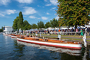 Henley on Thames, England, United Kingdom, 5th July 2019, Henley Royal Regatta, Umpires launches moored outside the Bridge Bar,   [© Peter SPURRIER/Intersport Image]<br /> <br /> 17:12:05 1919 - 2019, Royal Henley Peace Regatta Centenary,