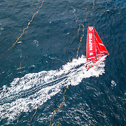 Leg 8 from Itajai to Newport, day 12 on board MAPFRE, Drone shot of the boat going through some seaweed lines. 03 May, 2018.