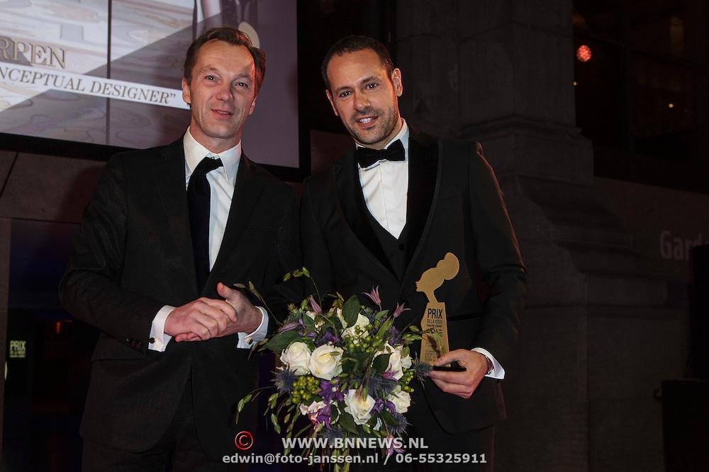 NLD/Amsterdam/20150119 - De Marie Claire Prix de la Mode awards, Wim Pijbes en Massimiliano Giornetti for Salvatore Ferragamo wint de Best Fashion House' award