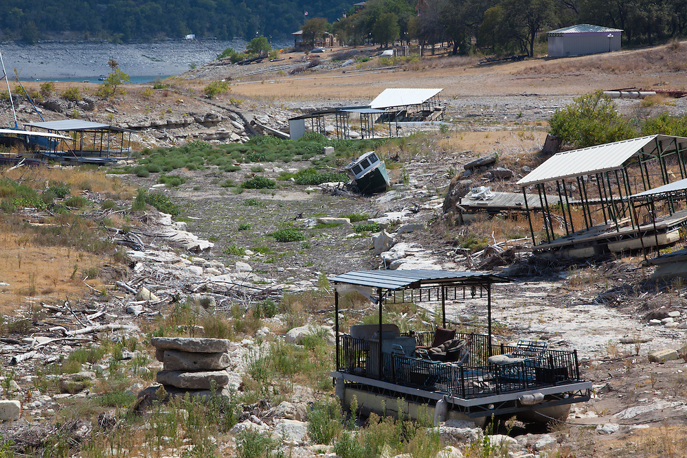 Abandoned boat docks in a dried up branch of Lake Travis  in Austin Texas.The Drought in Texas will have long term environmental and finical impact.