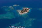 aerial view of coral caye ( small island ), with sailboat, inside southern Belize barrier reef in vicinity of Placencia, Belize, Central America ( Caribbean Sea )
