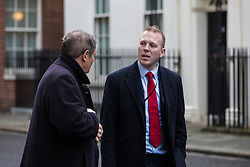 London, UK. 16 December, 2019. Robert Oxley, aide to Prime Minister Boris Johnson, speaks to Sky News' Jon Craig outside 10 Downing Street on the day of a small Cabinet reshuffle following the Conservatives' general election victory.