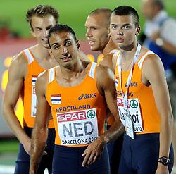 01-08-2010 ATLETIEK: EUROPEAN ATHLETICS CHAMPIONSHIPS: BARCELONA<br /> Netherlands 4x400 meter relay MOERMAN Joeri , SPILLEKOM Dennis, LATHOUWERS Robert, EL RHALFIOUI Youssef<br /> ©2010-WWW.FOTOHOOGENDOORN.NL