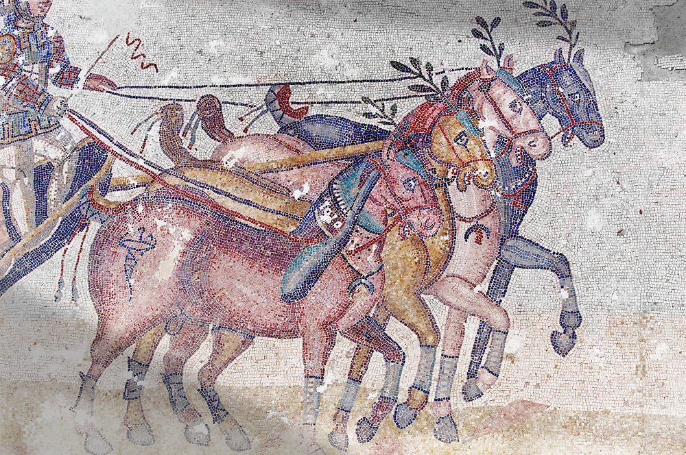 Close up of a chariot racing at the Circus Maximus Chariot racing at the Circus Maximus from the Palaestra room no 15.. Roman mosaics at the Villa Romana del Casale which containis the richest, largest and most complex collection of Roman mosaics in the world. Constructed in the first quarter of the 4th century AD. Sicily, Italy. A UNESCO World Heritage Site..  Wall art print by Photographer Paul E Williams If you prefer visit our World Gallery Print Shop To buy a selection of our prints and framed prints desptached  with a 30-day money-back guarantee and is dispatched from 16 high quality photo art printers based around the world. ( not all photos in this archive are available in this shop) https://funkystock.photoshelter.com/p/world-print-gallery .<br /> <br /> USEFUL LINKS:<br /> Visit our other HISTORIC AND ANCIENT ART COLLECTIONS for more photos to buy as wall art prints  https://funkystock.photoshelter.com/gallery-collection/Ancient-Historic-Art-Photo-Wall-Art-Prints-by-Photographer-Paul-E-Williams/C00002uapXzaCx7Y