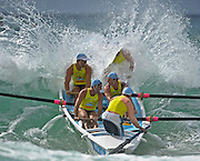 GOLD COAST, AUSTRALIA - APRIL 07:  Members of Manly SLSC competes in the Open Men's Boat race during the 2011 Australian Surf Lifesaving Championships at Kurrawa Beach on April 7, 2011 in Gold Coast, Australia.  (Photo by Matt Roberts/Getty Images)