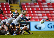 Sale Sharks scrum-half Faf De Klerk passes the ball during a Gallagher Premiership Round 7 Rugby Union match, Friday, Jan. 29, 2021, in Leicester, United Kingdom. (Steve Flynn/Image of Sport)