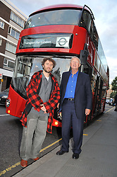 Left to right, THOMAS HEATHERWICK and SIR TERENCE CONRAN at an exhibition at The Conran Shop entitled Red to celebrate 25 years of The Conran Shop at the Michelin Building, 81 Fulham Road, London on 19th September 2012.