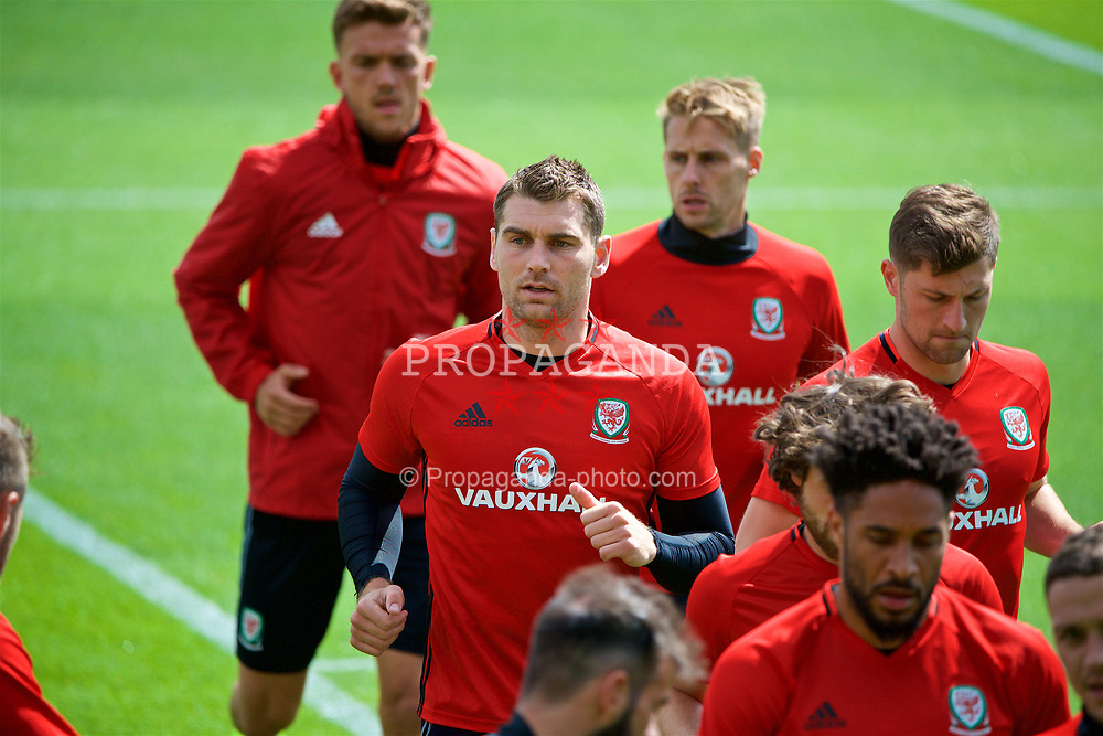 CARDIFF, WALES - Wednesday, June 7, 2017: Wales' Sam Vokes during a training session at the Vale Resort ahead of the 2018 FIFA World Cup Qualifying Group D match against Serbia. (Pic by David Rawcliffe/Propaganda)