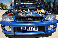 Engine Bay.2000 MY00 Subaru Impreza WRX - WR Blue.Shot on location in Port Melbourne.10th December 2005.(C) Joel Strickland Photographics.Use information: This image is intended for Editorial use only (e.g. news or commentary, print or electronic). Any commercial or promotional use requires additional clearance.