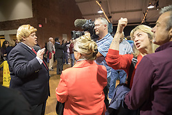 October 28, 2016 - Manchester, NH, USA - Supporters of Donald Trump, the republican candidate for president of the United States, and a Donald Trump impersonator during a campaign stop at the Armory Ballroom in the Radisson Hotel in Manchester, NH. (Credit Image: © Bryce Vickmark via ZUMA Wire)