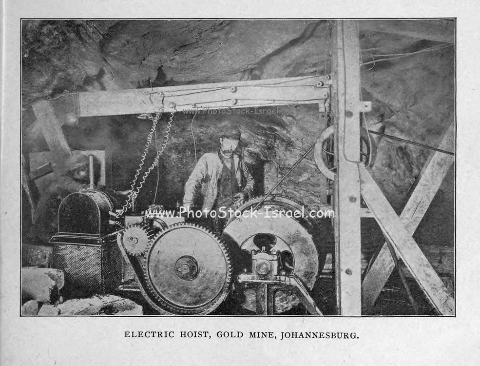 Electric Hoist, Gold Mine Johannesburg from the book ' Boer and Britisher in South Africa; a history of the Boer-British war and the wars for United South Africa, together with biographies of the great men who made the history of South Africa ' By Neville, John Ormond Published by Thompson & Thomas, Chicago, USA in 1900