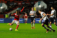 Kasey Palmer (45) of Bristol City shoots at goal from a free kick and hits the post during the The FA Cup fourth round match between Bristol City and Bolton Wanderers at Ashton Gate, Bristol, England on 25 January 2019.