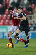 Sam Gallagher (Blackburn Rovers) and Tom Adeyemi (Rotherham United) fight for the ball during the EFL Sky Bet Championship match between Rotherham United and Blackburn Rovers at the AESSEAL New York Stadium, Rotherham, England on 11 February 2017. Photo by Mark P Doherty.