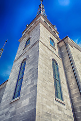 A geometric rising view of the Salem Lutheran Church at New Town.