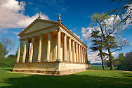 The neo-classic Temple of Concorde in Capability Browns English Lanscape Gardens at the Duke of Buckingham's  Stowe House,  Buckingham, England .<br /> <br /> Visit our EARLY MODERN ERA HISTORICAL PLACES PHOTO COLLECTIONS for more photos to buy as wall art prints https://funkystock.photoshelter.com/gallery-collection/Modern-Era-Historic-Places-Art-Artefact-Antiquities-Picture-Images-of/C00002pOjgcLacqI