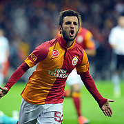 Galatasaray's Emre Colak celebrate his goal during their Turkish superleague soccer derby match Galatasaray between Besiktas at the TT Arena at Seyrantepe in Istanbul Turkey on Sunday, 27 January 2013. Photo by Aykut AKICI/TURKPIX