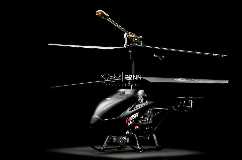 Prodict Photography RC Helicopter on black back background Bahamas product Photography  -