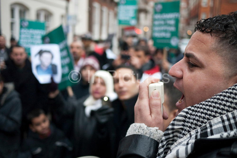 Protesters gather at the Egyptian Embassy in London to demonstrate against President Mubarak and his regime in Egypt. The protest was peaceful and very vocal. Tears were shed at stories told by some of he leading protesters as images of death in the streets of their countrymen were shown.