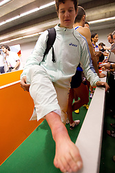 Martina Ratej of Slovenia shows her ill right foot after she competed in  the Womens Javelin Final during day three of the 20th European Athletics Championships at the Olympic Stadium on July 29, 2010 in Barcelona, Spain. (Photo by Vid Ponikvar / Sportida)