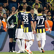 Referee's Cuneyt Cakir (L) show the red card to Fenerbahce's goalkeeper Volkan Demirel during their Turkish superleague soccer derby match Fenerbahce between Galatasaray at the Sukru Saracaoglu stadium in Istanbul Turkey on Sunday 12 May 2013. Photo by Aykut AKICI/TURKPIX