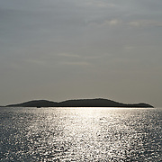 Bright sun reflecting on the sea in the Caribbean