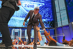 April 26, 2018 - Arlington, TX, U.S. - ARLINGTON, TX - APRIL 26: Leighton Vander Esch high fives fans as he walks on stage after being chosen by the Dallas Cowboys with the 19th pick during the first round at the 2018 NFL Draft at AT&T Statium on April 26, 2018 at AT&T Stadium in Arlington Texas.  (Photo by Rich Graessle/Icon Sportswire) (Credit Image: © Rich Graessle/Icon SMI via ZUMA Press)