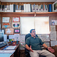 071613       Cable Hoover<br /> <br /> Zuni Department of Natural Resources hydrologist Kirk Bemis explains the current water situation at his office in Zuni Tuesday.
