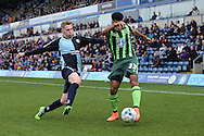 Jason McCarthy of Wycombe Wanderers intercepts Lyle Taylor of AFC Wimbledon. Skybet football league two match, Wycombe Wanderers  v AFC Wimbledon at Adams Park  in High Wycombe, Buckinghamshire on Saturday 2nd April 2016.<br /> pic by John Patrick Fletcher, Andrew Orchard sports photography.