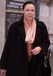Marchioness Disaster Inquiry is held at the Westminster Central Hall, London. Relatives of the victims giving evidence.Annette Russell, survivor, leaving after giving evidence. .Photo by Andrew Parsons/i-Images.All Rights Reserved ©Andrew Parsons/i-images.See Instructions