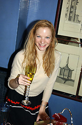 Actress NATHALIE PRESS at the launch of MAC's High Tea collection with leading British designers held at The Berkeley Hotel, London on 17th January 2005.  MAC has collabroated with The Berkeley's Pret-a-Portea, which adds a creative twist to th classic elements of the English afternoon tea with cakes and pastries inspired by fashion designs.<br /><br />NON EXCLUSIVE - WORLD RIGHTS