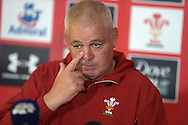 Warren Gatland, the Wales rugby head coach speaks to media at the Wales rugby team press conference at the Vale Resort, Hensol , near Cardiff ,South Wales on Thursday 3rd Sept  2015. The team are preparing for their next RWC warm up match against Italy on the weekend. pic by Andrew Orchard, Andrew Orchard sports photography.