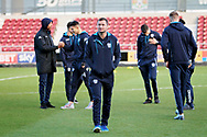 Bury players looking at the pitch before the EFL Sky Bet League 1 match between Northampton Town and Bury at Sixfields Stadium, Northampton, England on 25 November 2017. Photo by Nigel Cole.