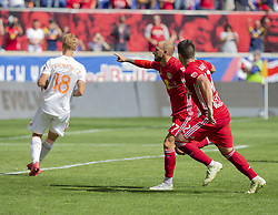 September 30, 2018 - Harrison, New Jersey, United States - Daniel Royer (77) of Red Bulls celebrates scoring goal from penalty spot during regular MLS game against Atlanta United FC at Red Bull Arena Red Bulls won 2 - 0  (Credit Image: © Lev Radin/Pacific Press via ZUMA Wire)