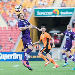 BRISBANE, AUSTRALIA - OCTOBER 30: Josh Risdon of the Glory heads the ball during the round 4 Hyundai A-League match between the Brisbane Roar and Perth Glory at Suncorp Stadium on October 30, 2016 in Brisbane, Australia. (Photo by Patrick Kearney/Brisbane Roar)