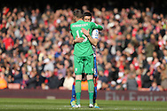 Scott Dann of Crystal Palace hugs Goalkeeper Wayne Hennessey of Crystal Palace before k/o. Barclays Premier league match, Arsenal v Crystal Palace at the Emirates Stadium in London on Sunday 17th April 2016.<br /> pic by John Patrick Fletcher, Andrew Orchard sports photography.