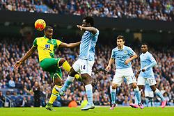 Wilfried Bony of Manchester City challenges Sebastien Bassong of Norwich City - Mandatory byline: Matt McNulty/JMP - 07966 386802 - 31/10/2015 - FOOTBALL - Etihad Stadium - Manchester, England - Manchester City v Norwich City - Barclays Premier League
