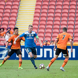 BRISBANE, AUSTRALIA - MARCH 25: Benjamin Barrowclift of SWQ Thunder dribbles the ball during the round 5 NPL Queensland match between the Brisbane Roar and SWQ Thunder at Suncorp Stadium on March 25, 2017 in Brisbane, Australia. (Photo by Patrick Kearney/Brisbane Roar)