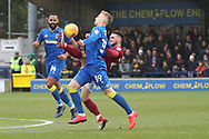 AFC Wimbledon striker Joe Pigott (39) battles for possession during the EFL Sky Bet League 1 match between AFC Wimbledon and Northampton Town at the Cherry Red Records Stadium, Kingston, England on 10 February 2018. Picture by Matthew Redman.