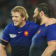 Aurelien Rougerie, (left) and Lionel Nallet, France, celebrate their teams victory during the Wales V France Semi Final match at the IRB Rugby World Cup tournament, Eden Park, Auckland, New Zealand, 15th October 2011. Photo Tim Clayton...
