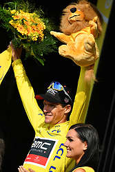 July 10, 2018 - Sarzeau, FRANCE - Belgian Greg Van Avermaet of BMC Racing celebrates on the podium in the yellow jersey of leader in the overall ranking after the fourth stage of the 105th edition of the Tour de France cycling race, from La Baule to Sarzeau (195km), in France, Tuesday 10 July 2018. This year's Tour de France takes place from July 7th to July 29th. BELGA PHOTO DAVID STOCKMAN - FRANCE OUT (Credit Image: © David Stockman/Belga via ZUMA Press)
