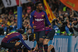 May 1, 2019 - Barcelona, Barcelona, Spain - Semedo of Barcelona celebrating a goal during UEFA Champions League football match, between Barcelona and Liverpool, May 01th, in Camp Nou stadium in Barcelona, Spain. (Credit Image: © AFP7 via ZUMA Wire)