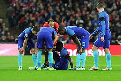 Quincy Promes of the Netherlands goes down injured  - Mandatory by-line: Dougie Allward/JMP - 29/03/2016 - FOOTBALL - Wembley Stadium - London, United Kingdom - England v Netherlands - International Friendly
