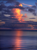 Sunset silhouette of boat, Gizo, Solomon Islands.