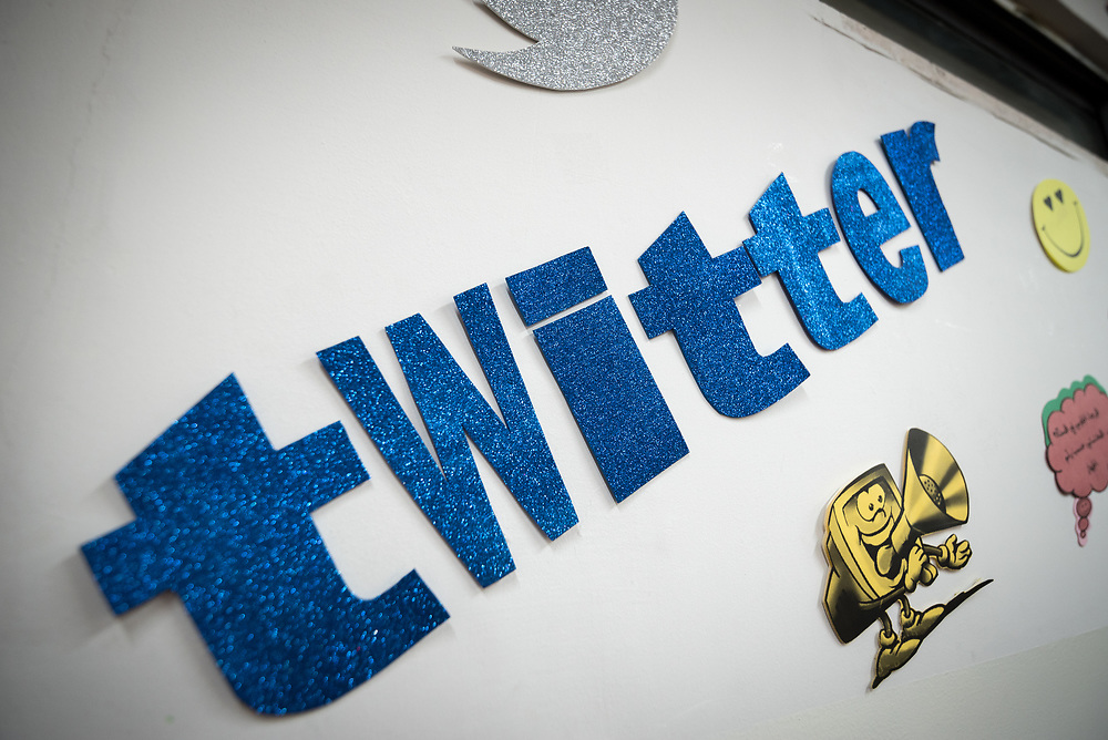 18 February 2020, Amman, Jordan: 'Twitter' says an installation on one of the walls inside the computer lab of Rufaida Al Aslamieh Primary Mixed School in the Sahab district. The school serves more than 1,000 students from kindergarten up to 10th grade, most of them girls from Jordan but also some from Syria and other countries, and, in the lower grades, also boys.