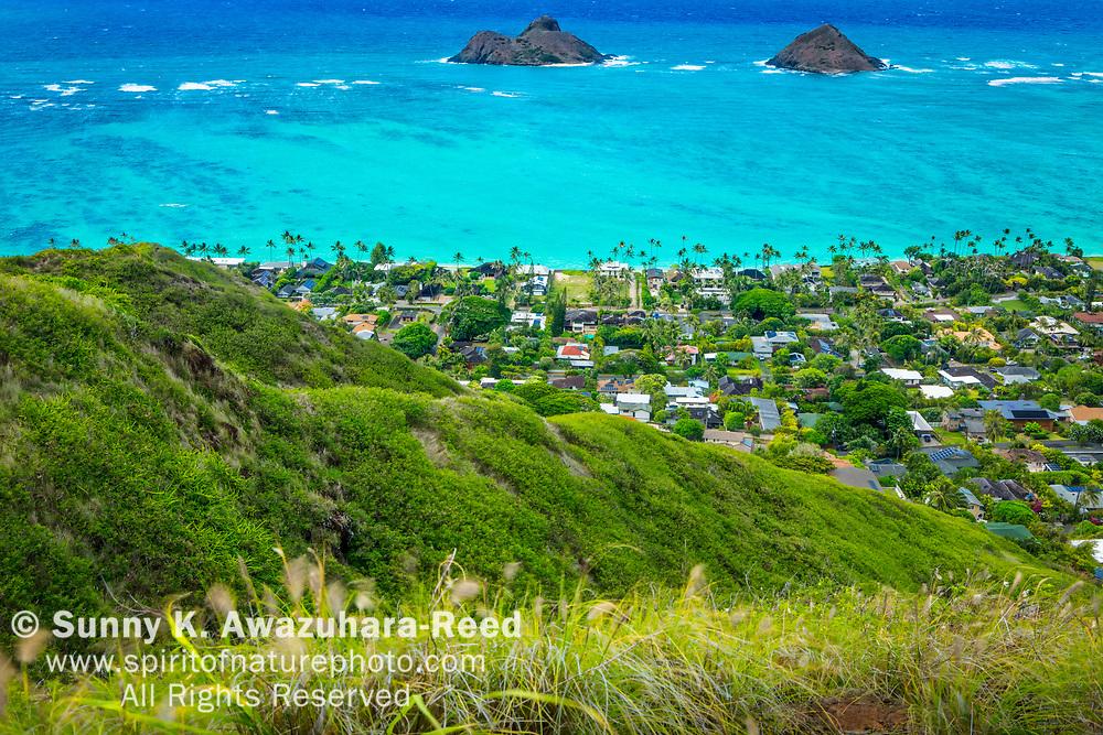 Aerial view of Mokulua Islands, turquoise ocean, Lanikai neighborhood and lush green hill of Ka'iwa Ridge. Kailua, Island of Oahu, Hawaii.