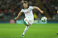 Eric Dier of Tottenham Hotspur takes a free kick which rattles the post in the 2nd half.. UEFA Champions league match, group E, Tottenham Hotspur v Bayer Leverkusen at Wembley Stadium in London on Wednesday 2nd November 2016.<br /> pic by John Patrick Fletcher, Andrew Orchard sports photography.
