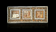 Picture of a Roman mosaics design depicting scenes from mythology, from the ancient Roman city of Thysdrus. End of 2nd century AD, House in Jiliani Guirat area. El Djem Archaeological Museum, El Djem, Tunisia. Against a black background<br /> <br /> This Roman mosaic depicts Aurore enticing Cephane, Apollo enticing Cyrene and Apollo persuing Daphne .<br /> <br /> If you prefer to buy from our ALAMY PHOTO LIBRARY Collection visit : https://www.alamy.com/portfolio/paul-williams-funkystock/roman-mosaic.html . Type - El Djem - into the LOWER SEARCH WITHIN GALLERY box. Refine search by adding background colour, place, museum etc<br /> <br /> Visit our ROMAN MOSAIC PHOTO COLLECTIONS for more photos to download as wall art prints https://funkystock.photoshelter.com/gallery-collection/Roman-Mosaics-Art-Pictures-Images/C0000LcfNel7FpLI