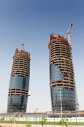 Construction of modern office towers in Abu Dhabi UAE